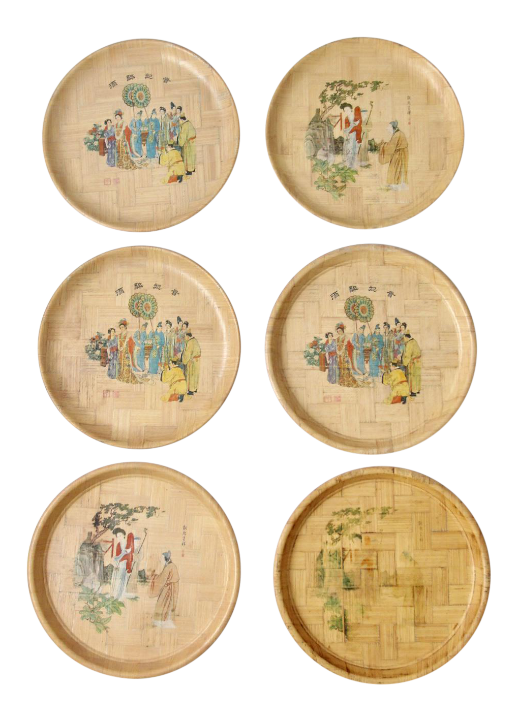 Vintage Chinese Bamboo Painted Plates - Set of 6  sc 1 st  Chairish & Vintage Chinese Bamboo Painted Plates - Set of 6 | Chairish