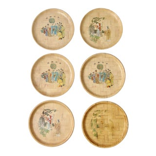 Vintage Chinese Bamboo Painted Plates - Set of 6 For Sale
