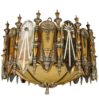 1920's e.f. Caldwell Bronze and Mirrored Glass Chandelier For Sale