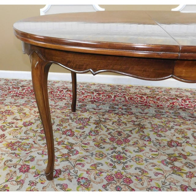 Fruitwood Cherry Oval French Provincial Style Baker Furniture Dining Table For Sale - Image 5 of 11