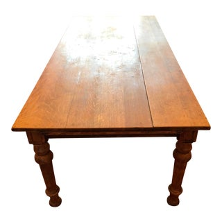 Antique Farm Table with Drawers For Sale