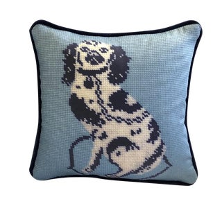 "Staffordshire Blue Dog Blended 10"" Blended Down Pillow, Textile Art For Sale"