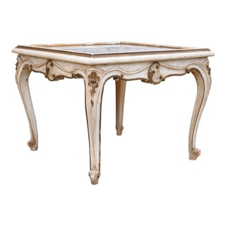 Antique French Louis XV Style Painted Marble Top Occasional Coffee Side Table For Sale
