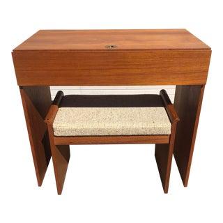 Vinde Mobelfabrik Danish Mid-Century Teak Vanity and Bench - 2 Pieces For Sale
