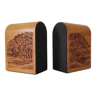 Vintage Lasercraft Wood Bookends a Pair . For Sale