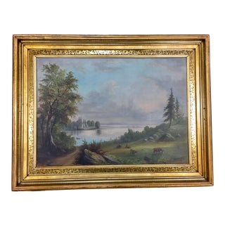 Original Antique Pastoral Hudson River Scene Oil Painting For Sale