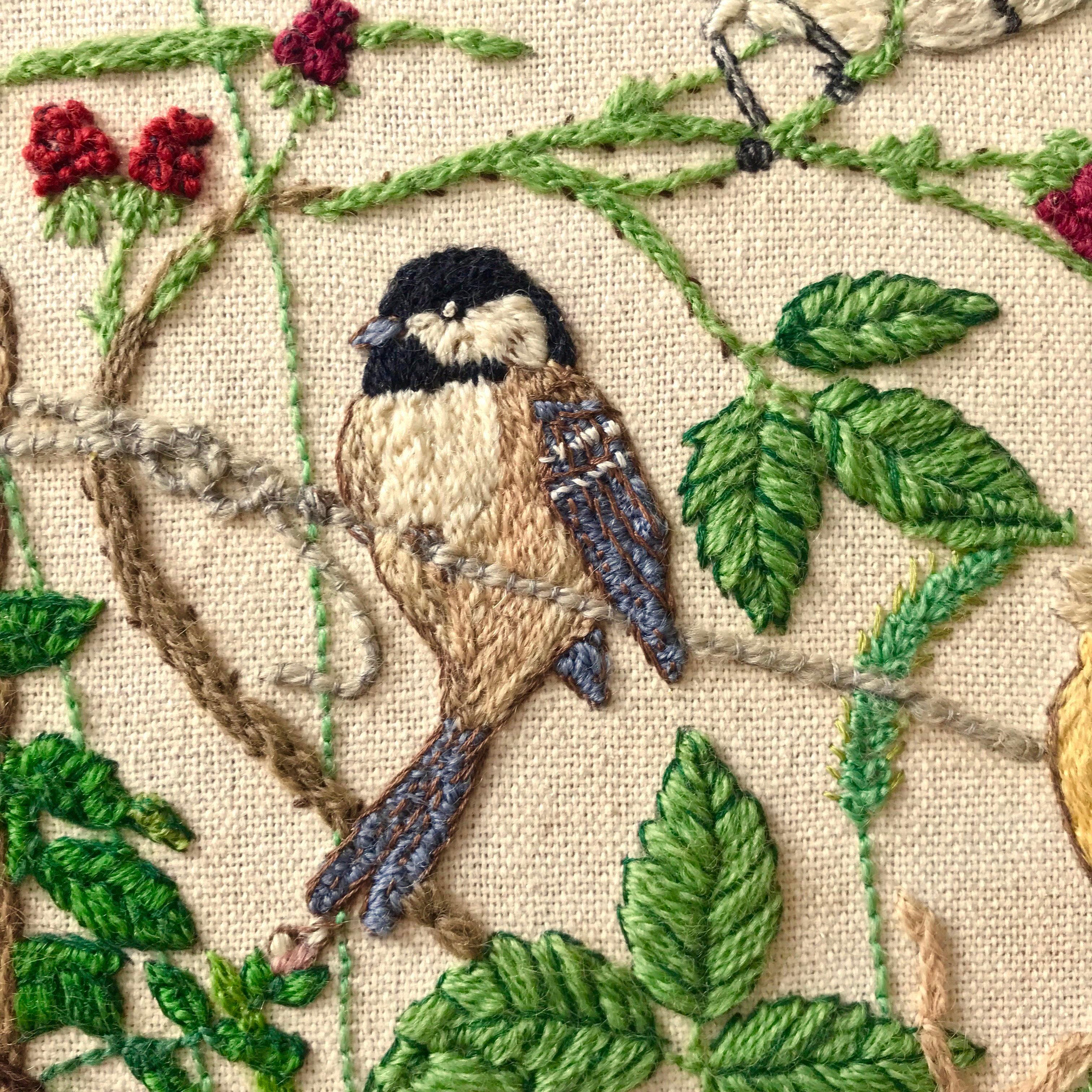 Vintage Garden Birds Crewel Needlepoint Embroidery Framed Artwork