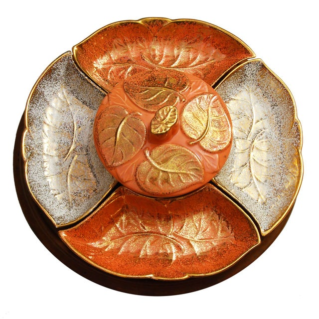 Vintage Lazy Susan with Golden Ceramic Leaf Dishes - Image 1 of 5