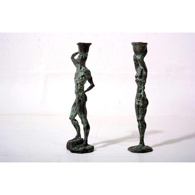 Pair of Mid-Century Modern Bronze Sculpture Holders For Sale In San Diego - Image 6 of 10