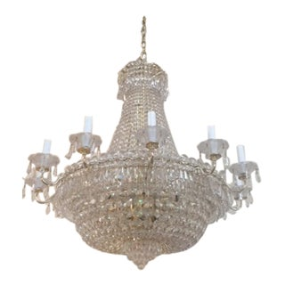 1960's Vintage Gold and Clear Crystal Chandelier For Sale