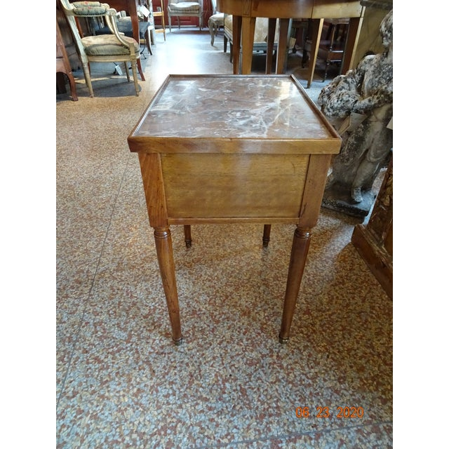 Wood French Marble Side Table For Sale - Image 7 of 13