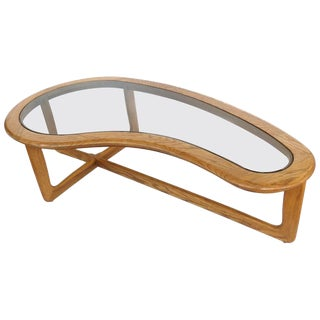 Mid-Century Modern Lane Biomorphic Shaped Boomerang Walnut and Glass Coffee Table For Sale