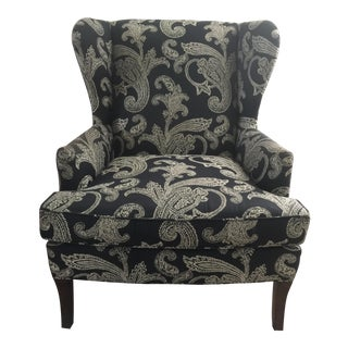 Kravet Black and White Paisley Pattern Club Wingback Chair