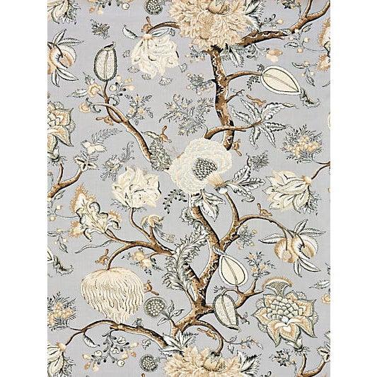 Scalamandre Pondicherry Linen Print Fabric, Mineral For Sale