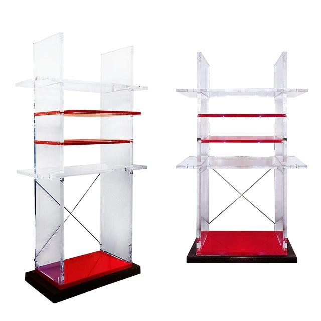 1980´s Pair of Bookcases, Plexiglas, Cast Iron - Italy For Sale