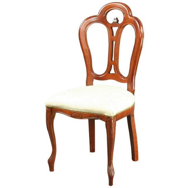 Large, New Italian Mahogany Rococo Dining Chair - Image 1 of 8