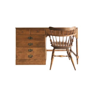 Vintage Ethan Allen Wood Writing Desk With Side Drawers and Turned Wood Matching Swivel Chair - 2 Piece Set For Sale