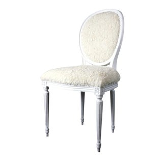 French Louis XVI Side Chair in Faux Fur For Sale