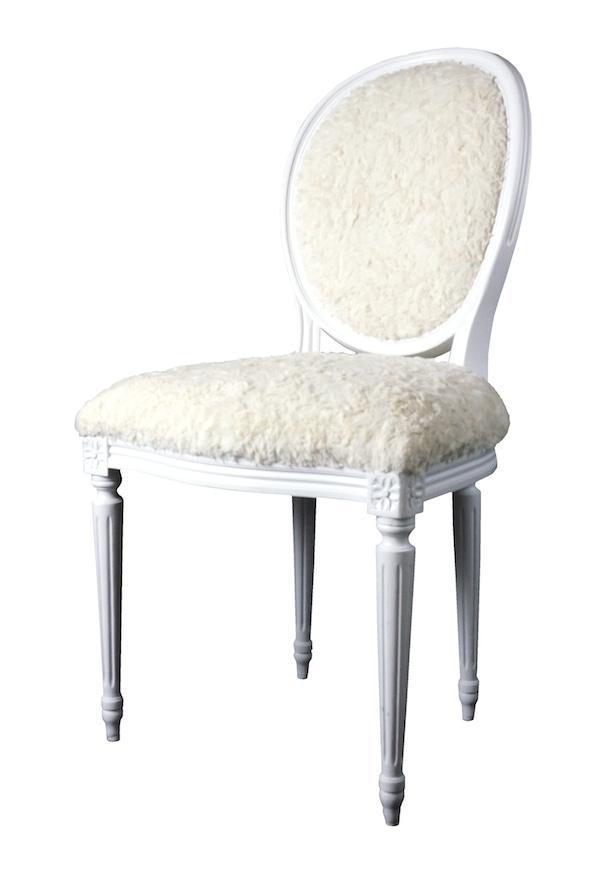 Superieur French Louis XVI Side Chair In Faux Fur
