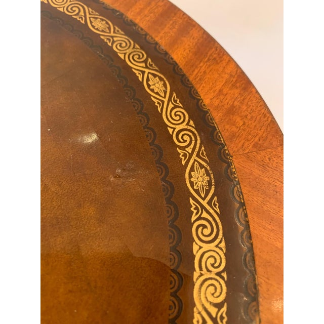Antique 2 Tier Mahogany and Tooled Leather Side Table For Sale - Image 9 of 13