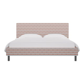 California King Tailored Platform Bed in Grey Geo For Sale