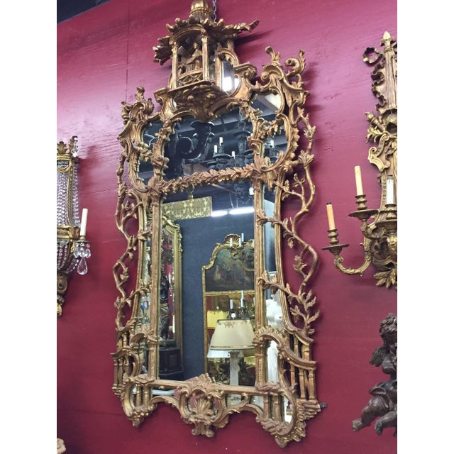 Mid 19th Century George III Chippendale Style Carved Giltwood Mirror, 19th Century For Sale - Image 5 of 9