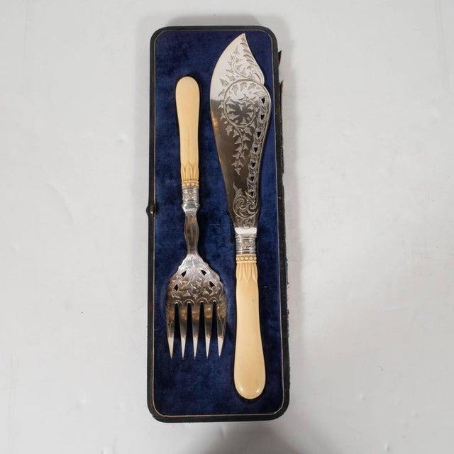 This exquisite Victorian fish set features a serving fork and knife with incredibly detailed engravings throughout. There...