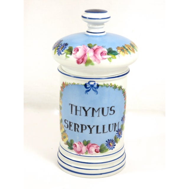 Blue Antique French Porcelaine Apothicary Jar For Sale - Image 8 of 8