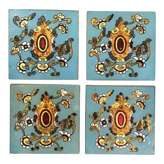Ornate Blue Painted Coasters - Set of 4
