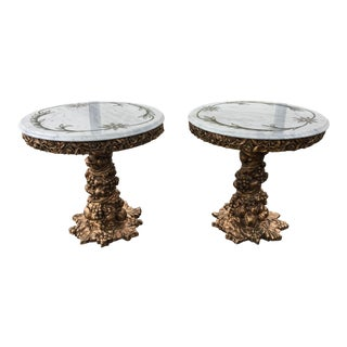 1960s Italian Etched and Painted Marble Top Giltwood Side Tables - a Pair