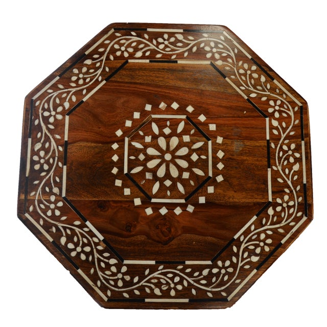 Moroccan inspired bone inlay octagonal side table. Featuring modern sensibilities with clean lines and a lighter inlay...