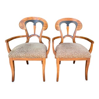 Antique Austrian Biedermeier Style Arm Chairs - a Pair For Sale