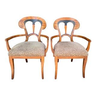 Pair of Antique Austrian Biedermeier Style Arm Chairs For Sale