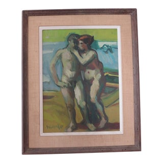 Robert Wilbert (1929-2016) 1962 Oil on Panel Painting 'Bathers Kissing' For Sale