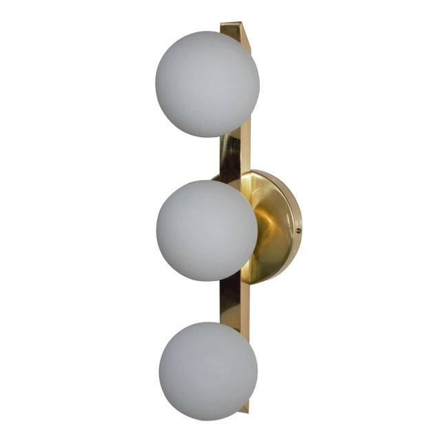 Italian Murano wall light or flush mount with hand blown frosted white Murano glass globes mounted on polished brass...