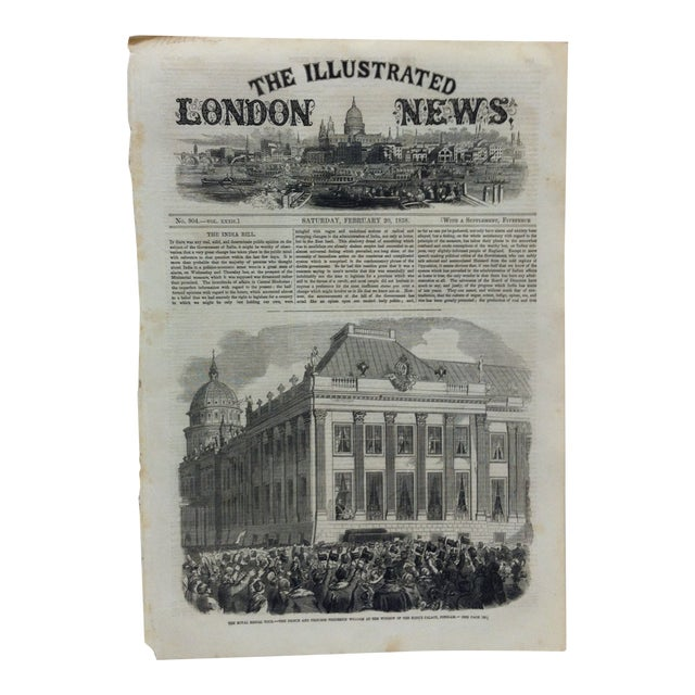"""1858 Antique Illustrated London News """"The Royal Bridal Tour"""" Print For Sale"""