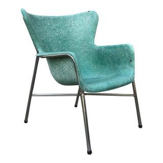 Mid Century Modern Fiberglass Aqua Green Chair With Chrome Legs For Sale