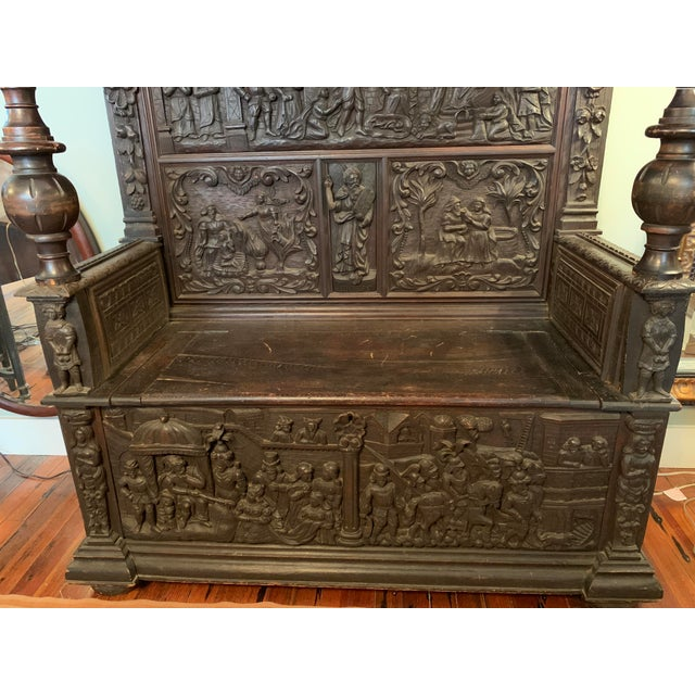 Gothic 16th Century Antique High Gothic Pictorial Bench For Sale - Image 3 of 12