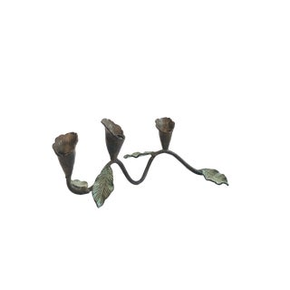 Vintage Vertigris Metal Flower Candle Holder For Sale