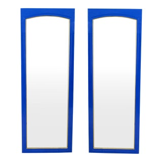 Mid-Century Blue Lacquered Mirrors - A Pair