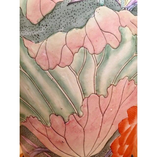 Floral Ginger Jar Lamp With Dark Wood Base - Image 7 of 10