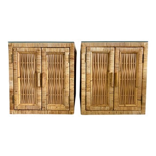 1960s Bielecky Brothers Style Rattan End Tables - a Pair For Sale