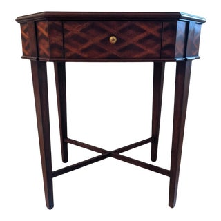 Maitland Smith Parquetry Table With Single Drawer For Sale