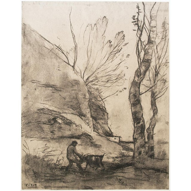 """Large cottage style vintage lithograph after chalk and pencil drawing """"Shepherd With A Goat"""" by Jean-Baptiste-Camille..."""