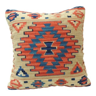 Vintage Orange and Blue Kilim Decorative Pillow For Sale
