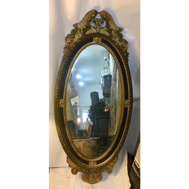 00485233c02 Gesso Federal Gesso Wood Frame Oval Vertical Mirror For Sale - Image 7 of 11