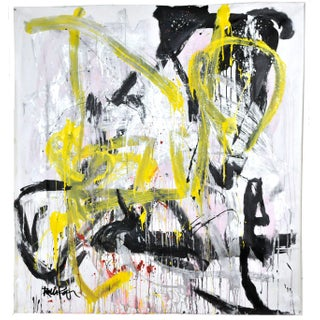 """Robbie Kemper """"Yellow Swirl Black"""" Unstretched Canvas Acrylic and Metallic Abstract Painting For Sale"""
