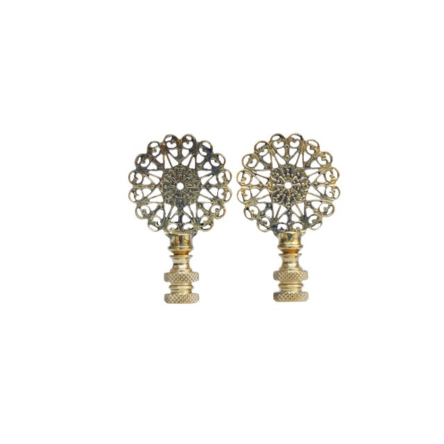 Lacy Brass Lamp Finials - a Pair For Sale