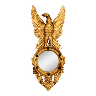 Convex Wall Mirror with Carved Eagle Giltwood Frame