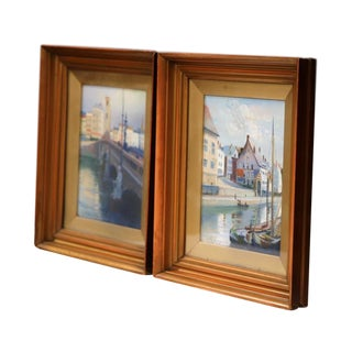 Pair of Early 20th Century English Signed, Dated, and Framed Watercolors Scenes For Sale
